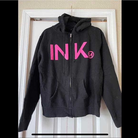 Black and Pink InkAddict zipper hoodie.